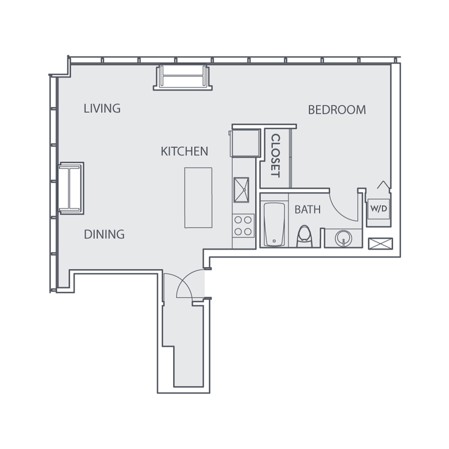 Rendering of the Loft B floor plan layout