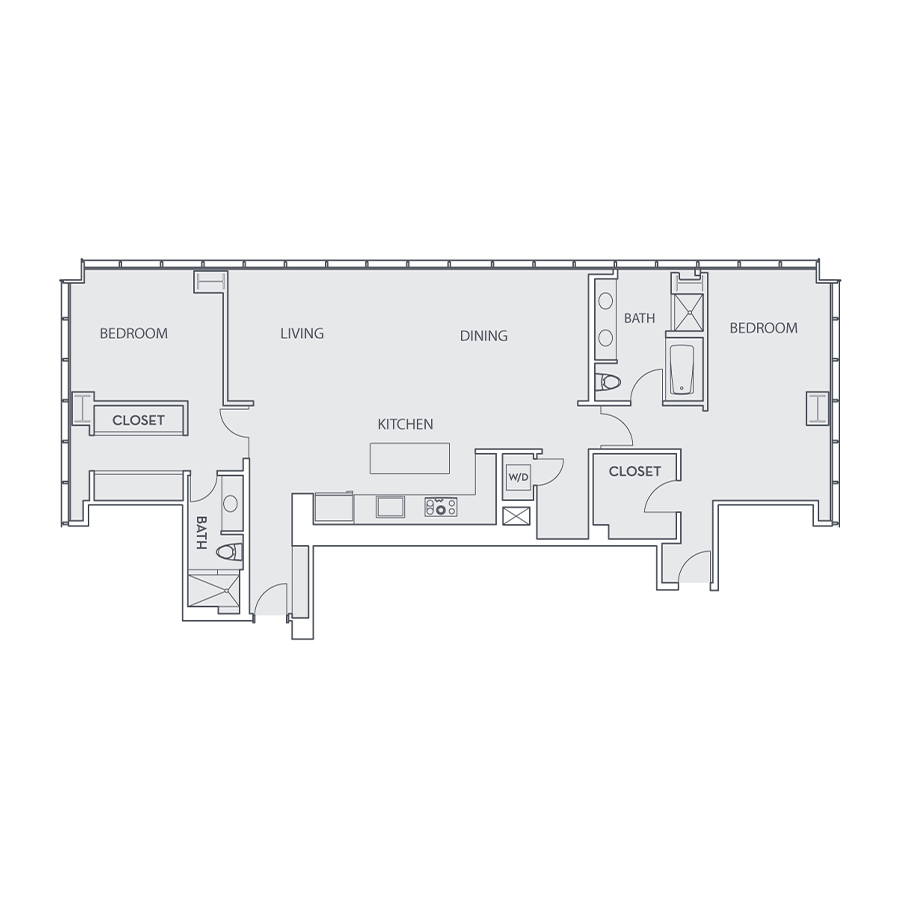 Rendering of the Penthouse Loft D floor plan layout