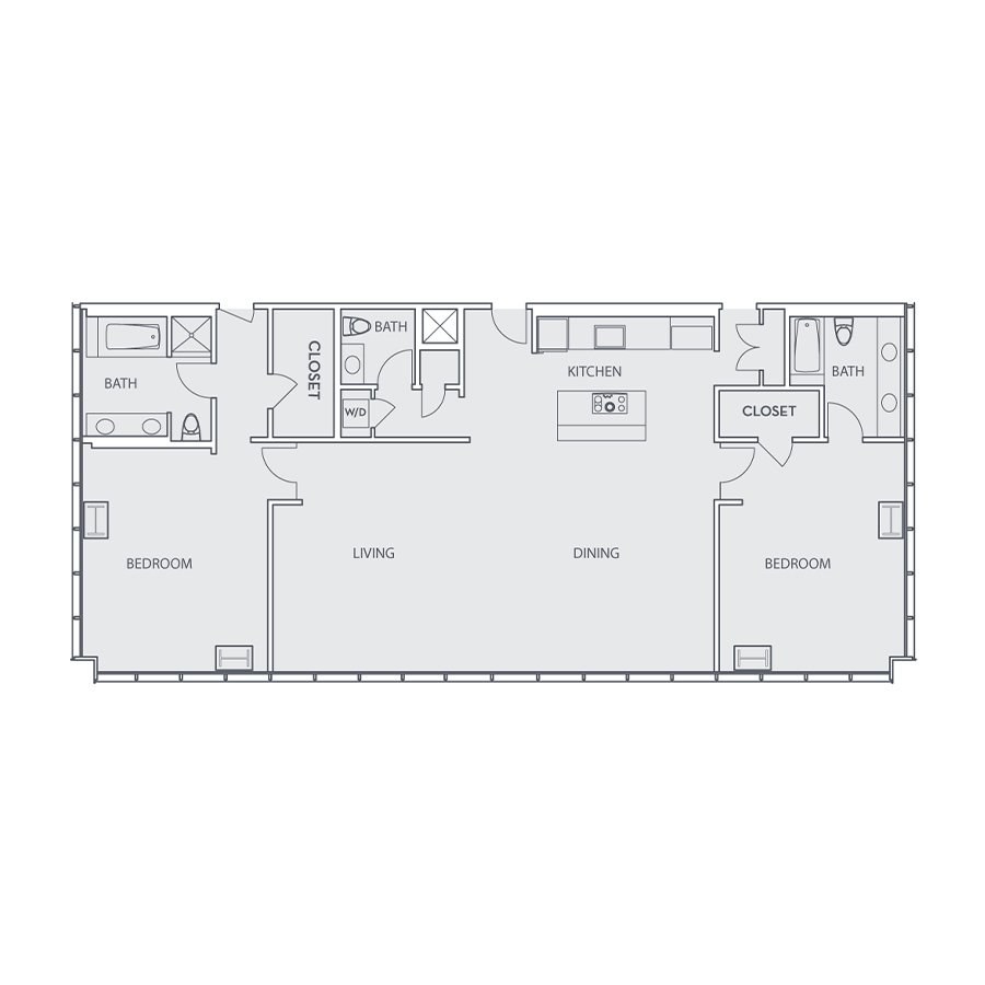 Rendering of the Penthouse Loft E floor plan layout